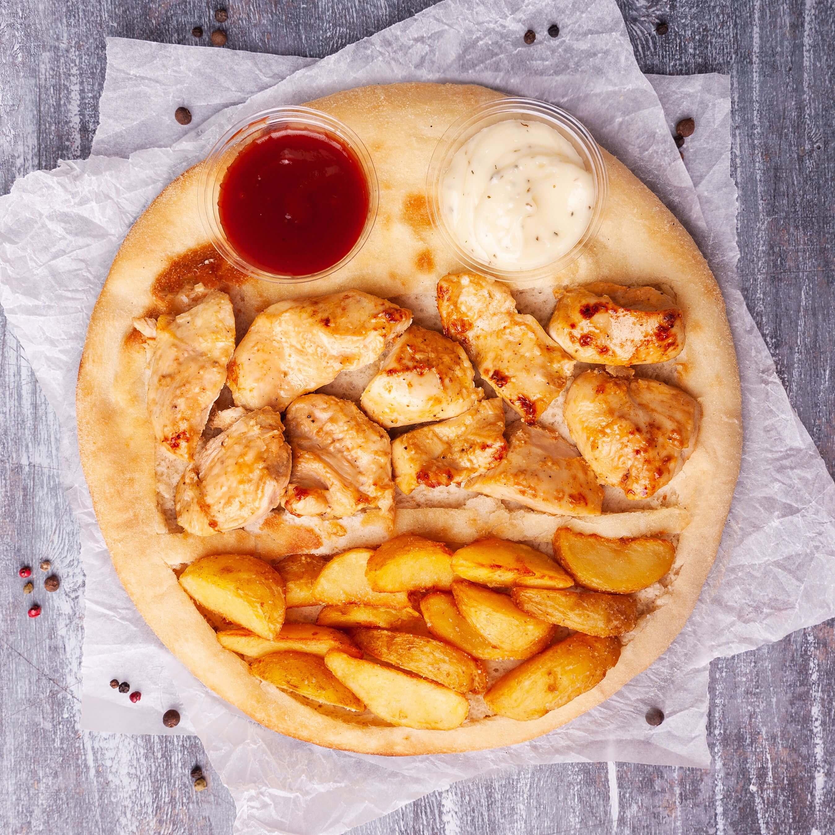 Шашлык-пицца из курицы