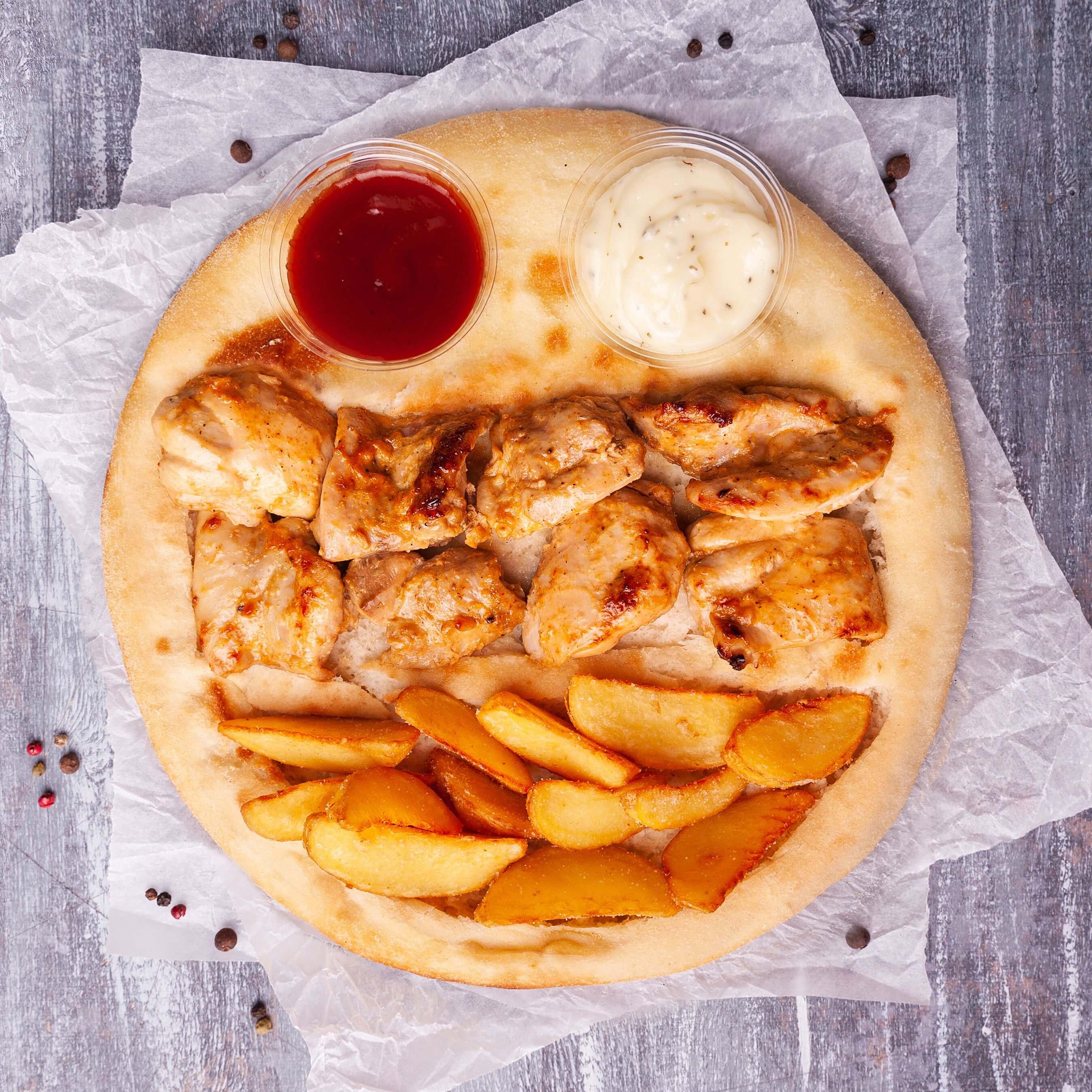 Шашлык-пицца из куриных бедер